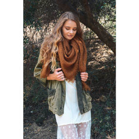 mohair square blanket scarf, camel