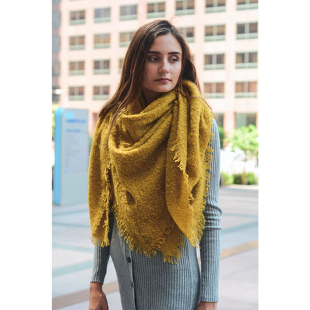 mohair square blanket scarf, mustard