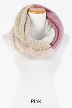 color block brushed infinity scarf, pink