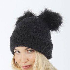 sable touch double pom knit beanie black