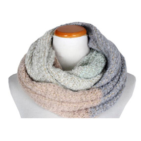boucle color block infinity scarf  - mint