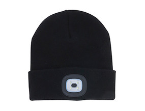 rechargeable LED beanie - black