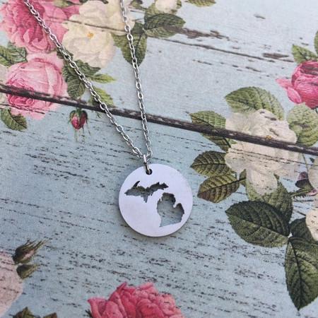 michigan cutout necklace silver