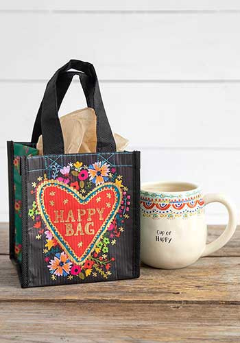 floral heart small happy bag