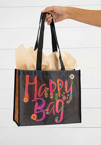 black magenta gold large happy bag