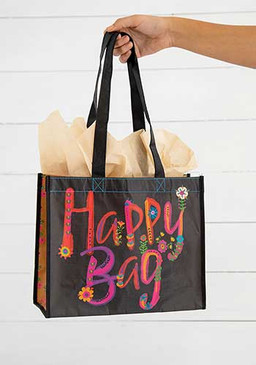 black magenta gold large happy bag