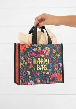 teal gold floral medium happy bag
