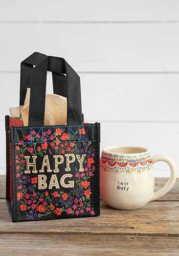 black cream floral small happy bag
