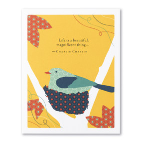 life is a beautiful thing new baby card, front