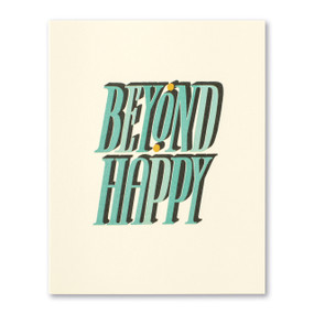 beyond happy wedding card, front