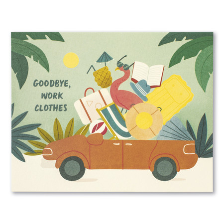 goodbye, work clothes retirement  card, front