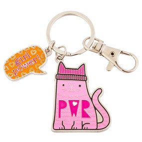 cat enamel key chain