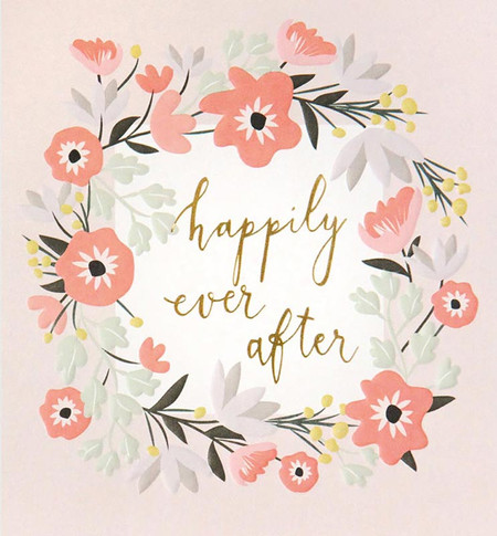 happily ever after floral wedding card