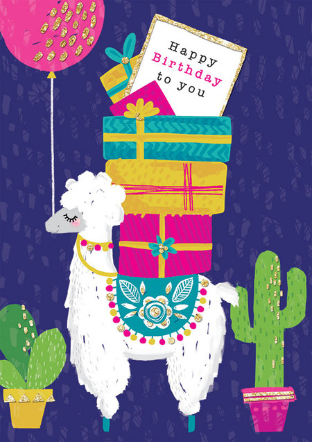 llama note birthday card