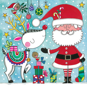 santa & rudolph holiday puzzle card