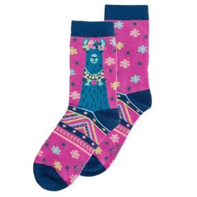 pink llama womens socks