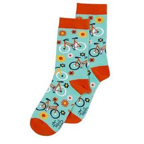 orange bicycle womens socks