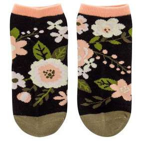 charcoal flowers womens ankle socks