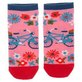 pink bicycle womens ankle socks