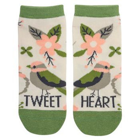 tweet heart bird womens ankle socks