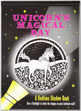unicorn's magical bedtime shadow book, front cover