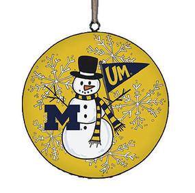 U of M snowman metal ornament