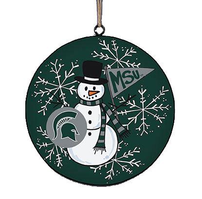 MSU snowman metal ornament