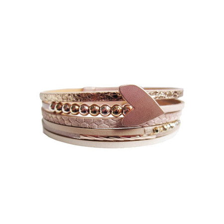 heart leather magnet clasp bracelet, nude