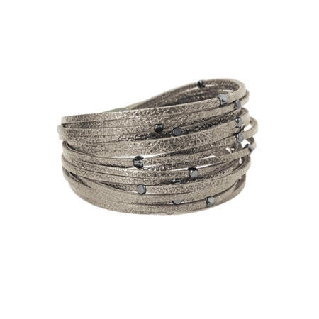 wide pleather and metal clasp bracelet, taupe