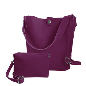 adjustable suede tote, plum