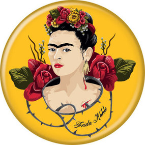 frida kahlo with thorns button