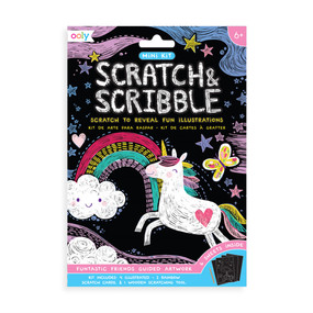mini scratch & scribble art kit: funtastic friends, front