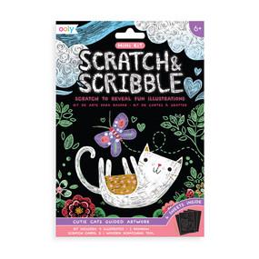 mini scratch & scribble art kit: cutie cats, front