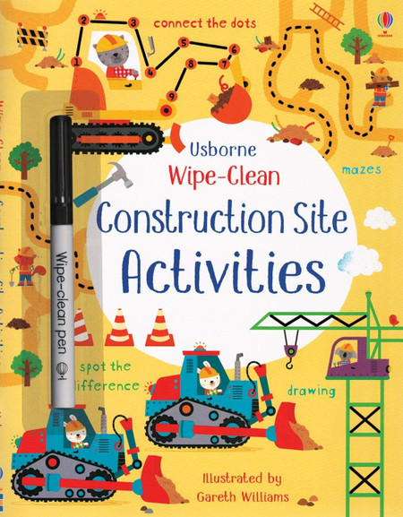 wipe clean construction site activities book, front cover