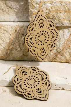 laser cut flower earrings, gold