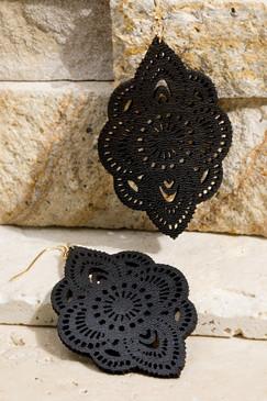 laser cut flower earrings, black