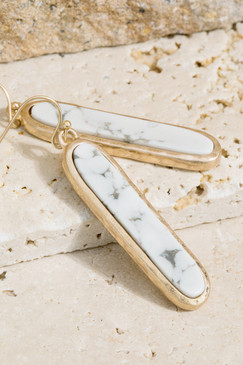 metal bar earrings with stone, howlite white