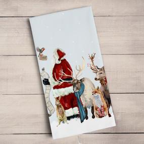 christmas santa with list tea towel