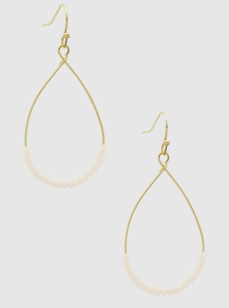faceted crystal bead earrings, beige