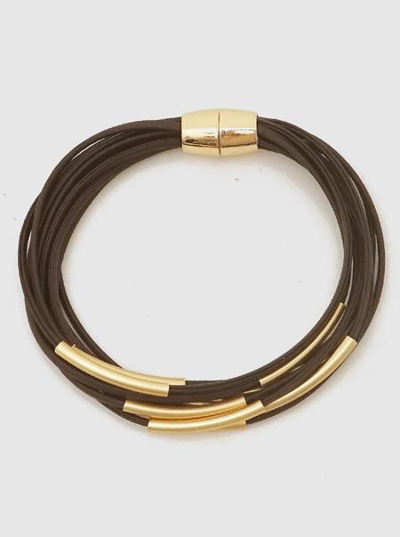 multi strand metal tube clasp bracelet gold brown