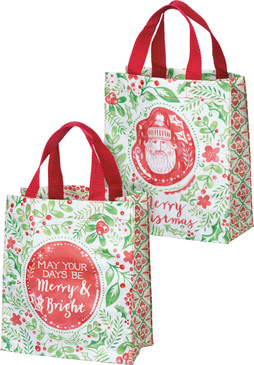 merry and bright christmas tote