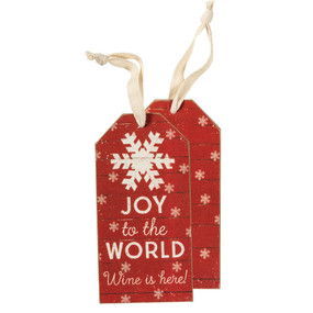 joy to the world wine is here bottle tag