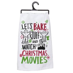 christmas movies dish towel