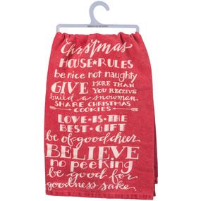 christmas rules dish towel
