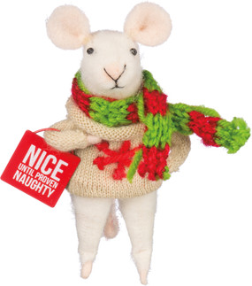 nice until proven guilty mouse ornament