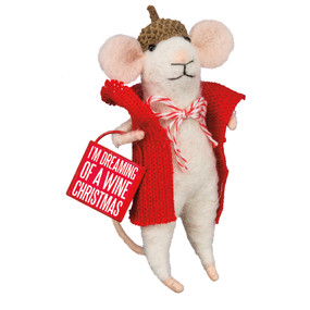 dreaming of a wine christmas mouse ornament