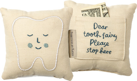 tooth fairy blue pillow
