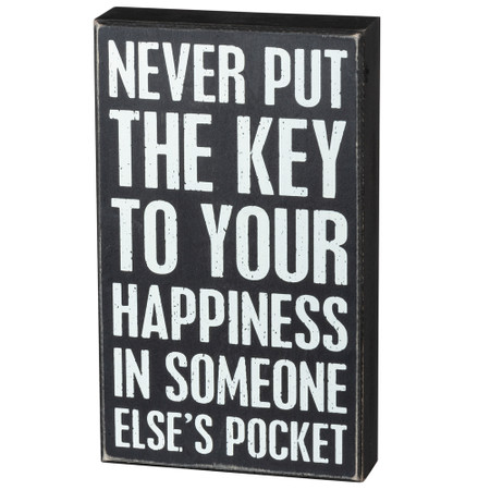 key to happiness box sign
