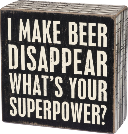 beer disappear box sign