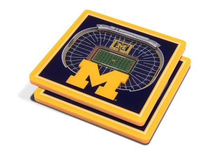 3-d michigan wolverines stadium coaster - set of 2